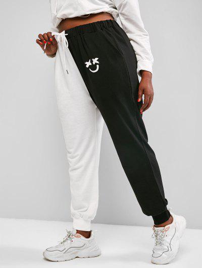 ZAFUL Plus Size Two Tone Face Print Drawstring Sweatpants - Black Xl