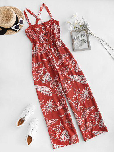 Palm Print Mock Button Criss Cross Wide Leg Jumpsuit - Red S
