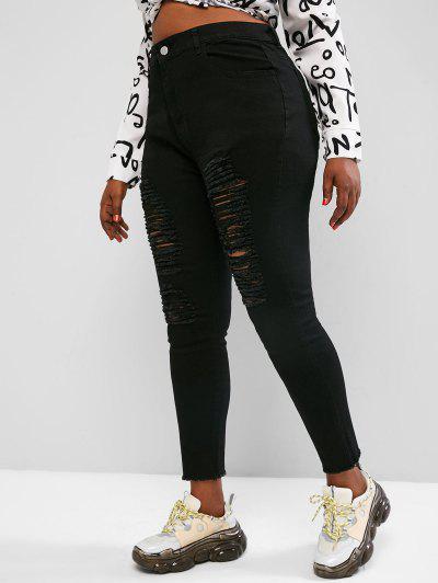 Plus Size Distressed Raw Hem Skinny Jeans - Black 4xl