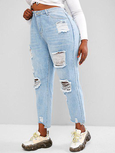 Plus Size Light Wash Ripped Boyfriend Jeans - Light Blue L