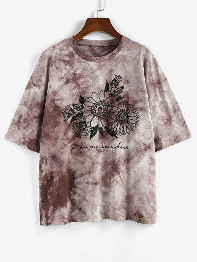 ZAFUL Sunflower Print Tie Dye Oversized Graphic T Shirt - Coffee L