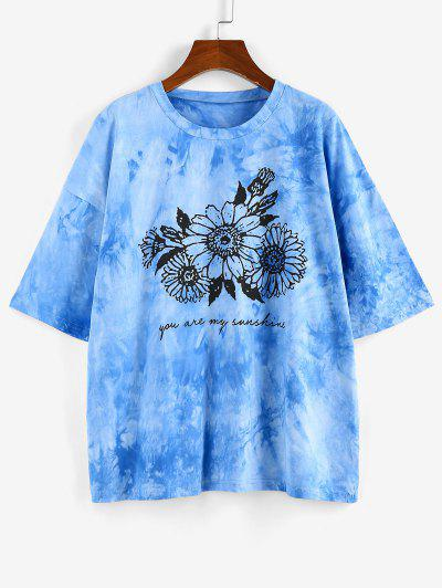 ZAFUL Sunflower Print Tie Dye Oversized Graphic T Shirt - Blue M