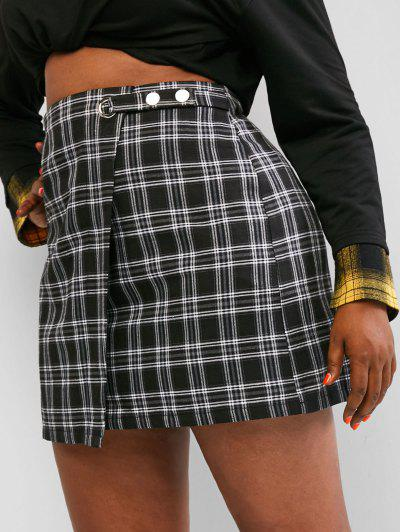 Zaful Plus Size Plaid Pattern Button Decorated  Overlap Skirt - Black 2xl