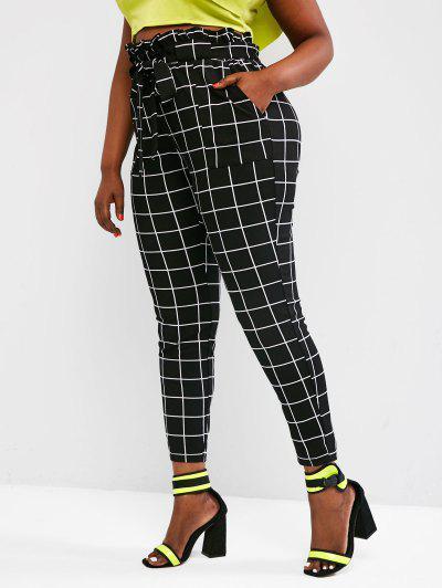 Plus Size Paperbag Waist Check Pattern Belted Pants - Black Xl