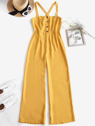 Criss Cross Mock Button Wide Leg Jumpsuit - Yellow M