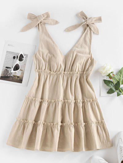 ZAFUL Tie Shoulder Frilled Tiered Plunge Dress - Coffee M