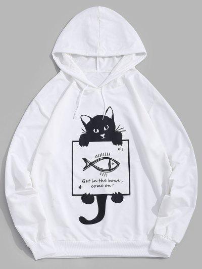 Cartoon Katzen Fisch Druck Grafik Hoodie - Weiß 2xl