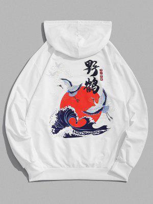 zaful Sun Wave Crane Print Oriental Hoodie