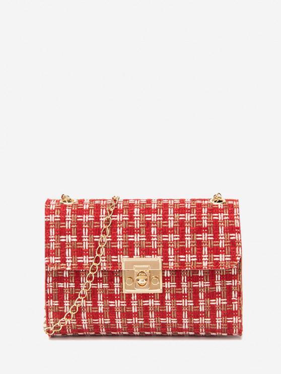 hot Plaid Chain Crossbody Bag - LAVA RED