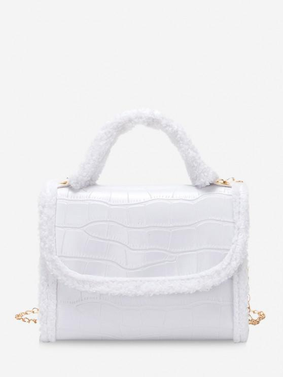 women's Fluffy Edge Chain Cover Handbag - WHITE