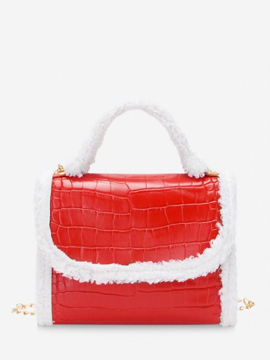 best Fluffy Edge Chain Cover Handbag - RUBY RED