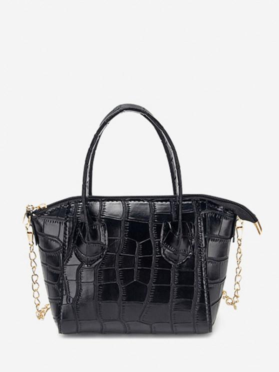 outfits Chain Stone Grain Tote Bag - BLACK