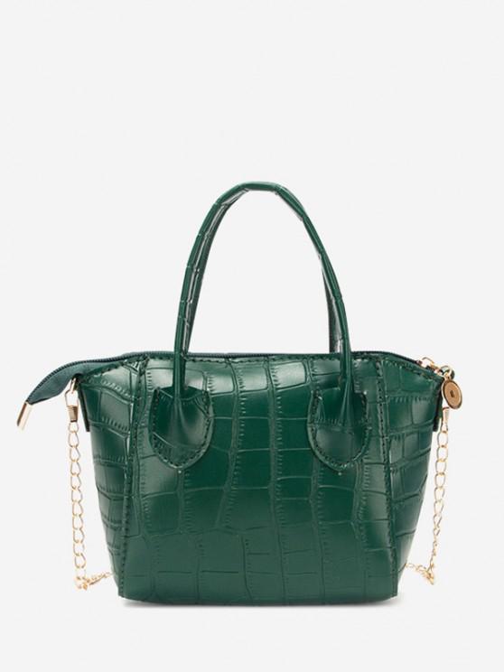 shops Chain Stone Grain Tote Bag - PINE GREEN