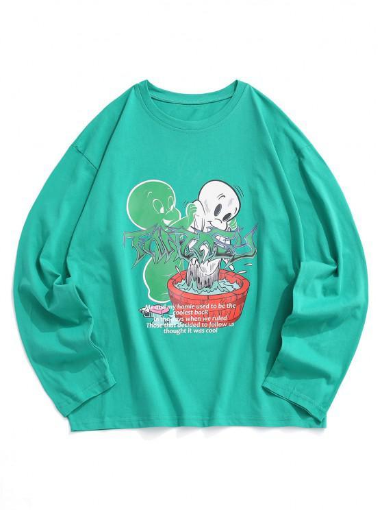 Long Sleeve Cartoon Graphic T Shirt - سيليست L