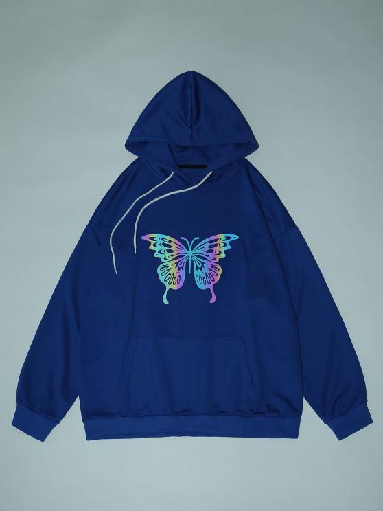 Sudadera con Capucha de Hombro Caído y Estampado de Mariposa - Azul Cobalto XL