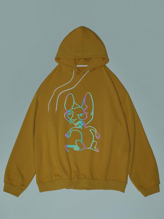Reflective Animal Print Drop Shoulder Hoodie - الأصفر XL