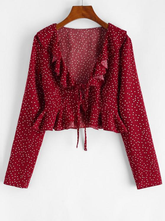 Polka Dot Ruffle Tie Front Plunging Blouse - أحمر عميق M