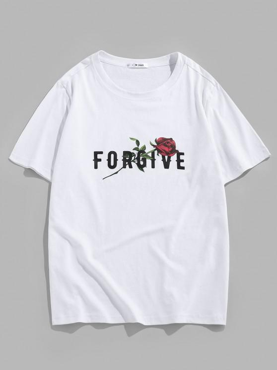 latest ZAFUL Forgive Rose Short Sleeve Basic T-shirt - WHITE S