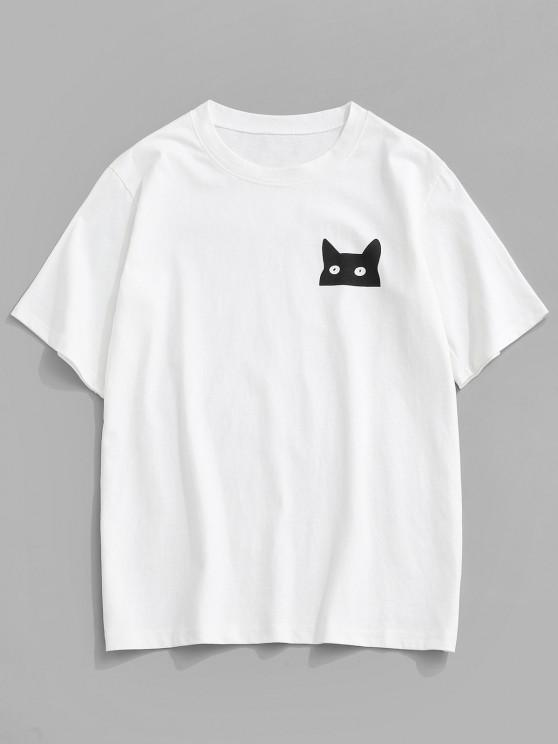 ZAFUL Cartoon Cat Print Basic T-shirt - أبيض 2XL
