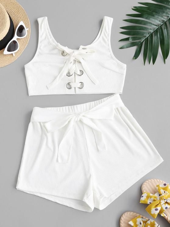 ladies Ribbed Lace-up Grommet Two Piece Shorts Set - WHITE S