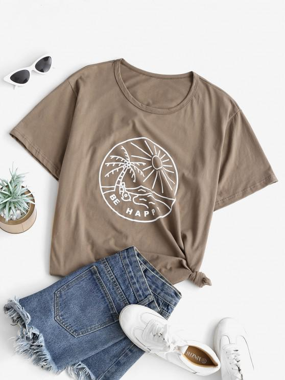 latest Funny Coconut Tree and Sun Graphic Cotton Tee - COFFEE S