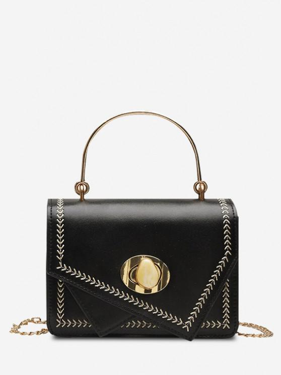 outfits Irregular Faux Gem Hasp Chain Handbag - BLACK