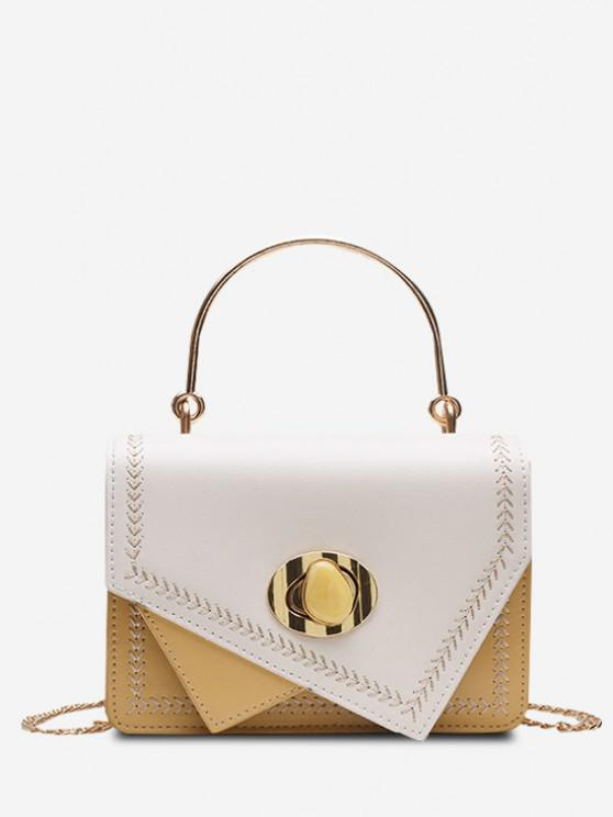 shop Irregular Faux Gem Hasp Chain Handbag - SUN YELLOW