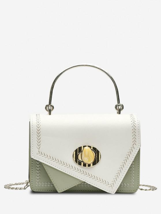 shops Irregular Faux Gem Hasp Chain Handbag - LIGHT GREEN