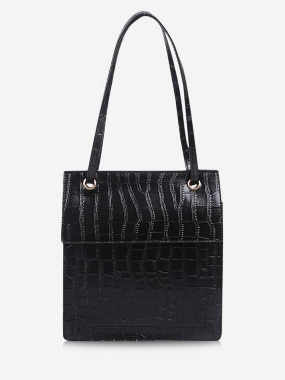 chic Stone Grain Cover Tote Bag - BLACK