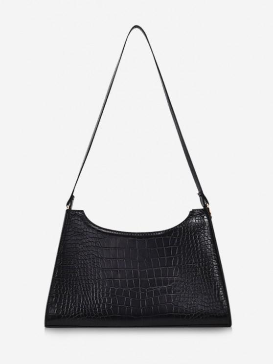 Retro Textured Shoulder Bag - أسود