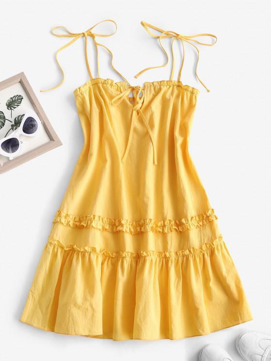 best Tie Shoulder Keyhole Ruffle Flounce Hem Dress - YELLOW S