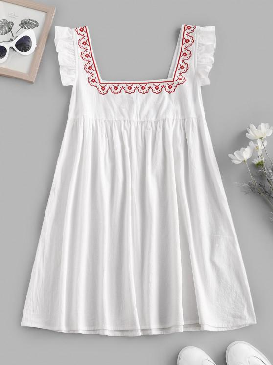 lady Ruffle Armhole Embroidered Smock Dress - WHITE L