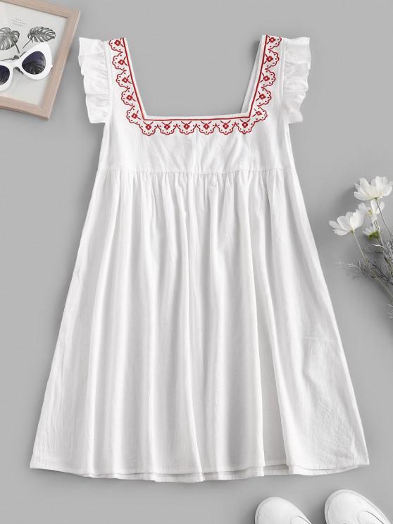 Ruffle Armhole Embroidered Smock Dress - أبيض M
