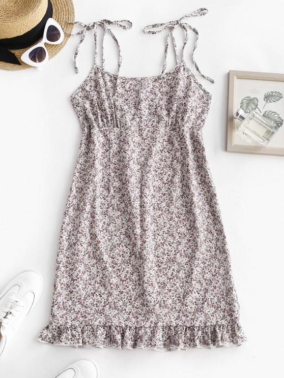 online Shoulder Tie Ditsy Print Ruffled Hem Sundress - WHITE S
