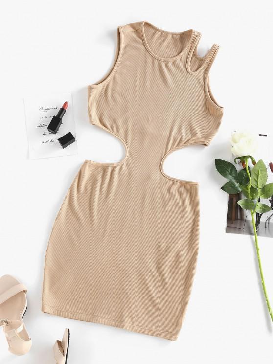 ZAFUL Ribbed Cutout Bodycon Tank Dress - القهوة الخفيفة M