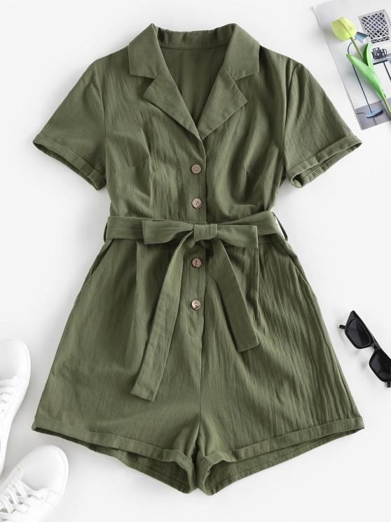 hot ZAFUL Belted Lapel Rolled Button Placket Romper - GREEN L