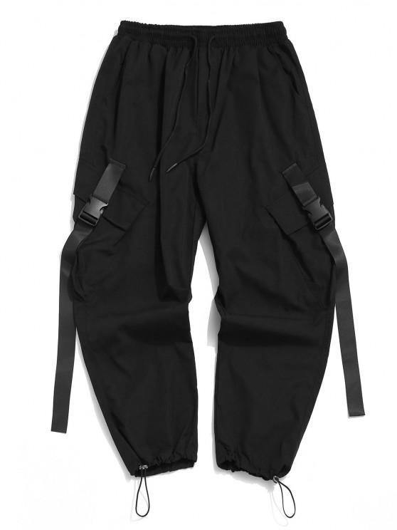 Pantalones de Carga con Correa de Hebilla de Multi-bolsillo - Negro L
