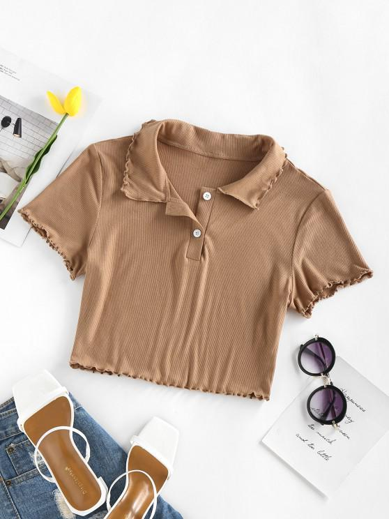 outfits ZAFUL Ribbed Lettuce Trim Crop Henley Tee - COFFEE L