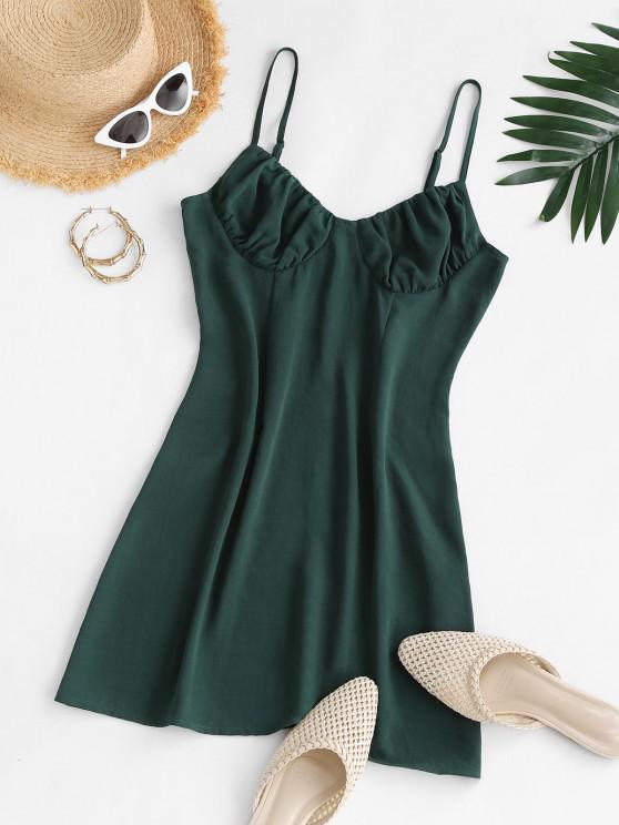 Mini Robe à Bretelle Fine à Volants - Vert profond S