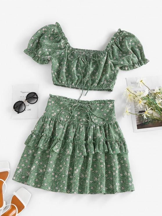 trendy ZAFUL Flower Polka Dot Ruffle Smocked Tiered Skirt Set - GREEN S