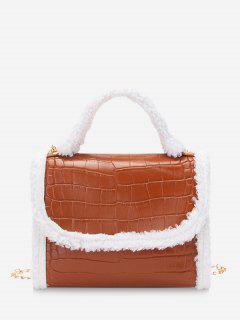 Fluffy Edge Chain Cover Handbag - Mahogany
