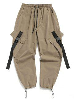 Buckle Strap Multi-pocket Toggle Cuff Cargo Pants - Light Khaki L