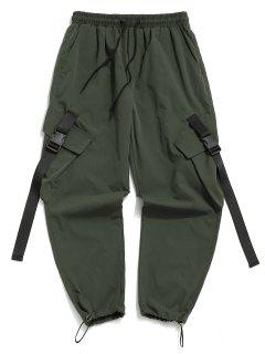 Buckle Strap Multi-pocket Toggle Cuff Cargo Pants - Jungle Green S