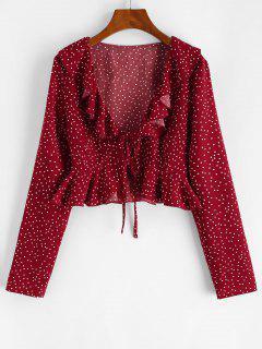 Blusa De Lunares Con Volantes Con Lazo Frontal - Color Rojo Oscuro S