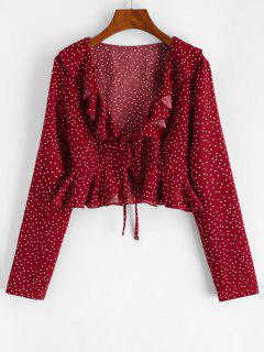 Polka Dot Ruffle Tie Front Plunging Blouse - Deep Red M