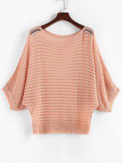 ZAFUL Solid Eyelet Dolman Sleeve Plus Size Knitwear - Light Orange 2xl