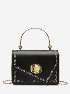 Irregular Faux Gem Hasp Chain Handbag - Black