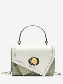 Irregular Faux Gem Hasp Chain Handbag - Light Green