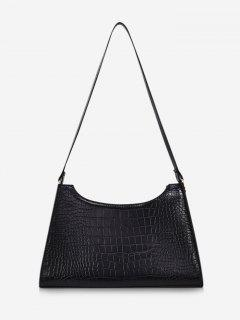 Retro Textured Shoulder Bag - Black