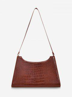 Retro Textured Shoulder Bag - Brown